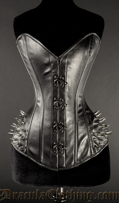 Faux Leather Hip Clasp Spike Corset