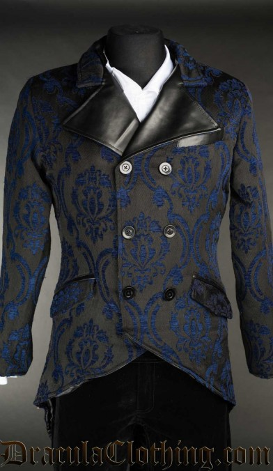 Blue Brocade Double Buttoned Tailcoat