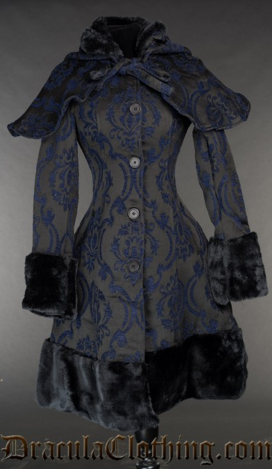 Blue Brocade Thick Winter Coat