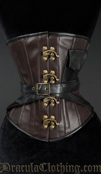 Faux Leather Pocket Clasp Corset