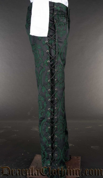Green Brocade Laced Pants