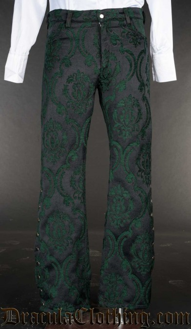 Green Brocade Pirate Officer Pants