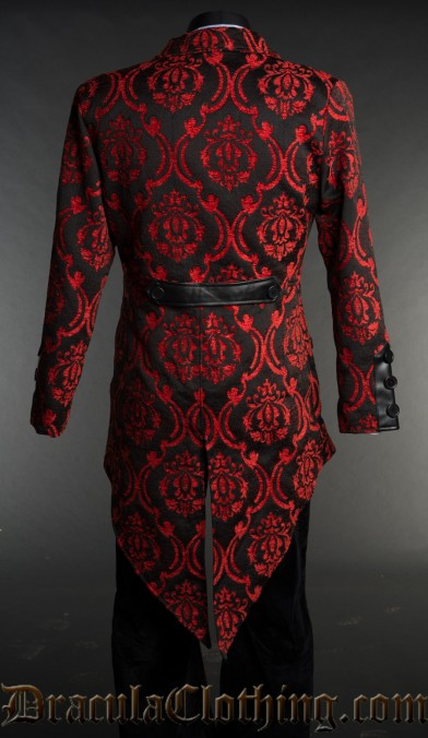Red Brocade Double Buttoned Tailcoat