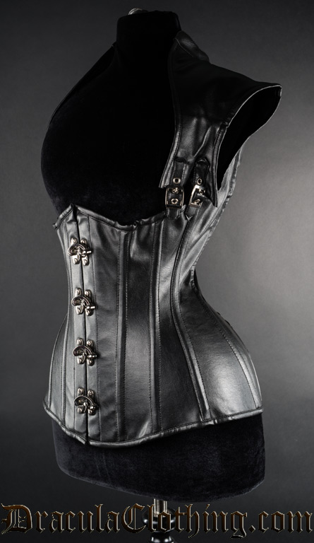 Faux Leather Apocalyptic Clasp Corset