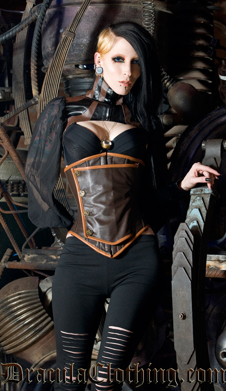 Leather Steampunk Officer Underbust