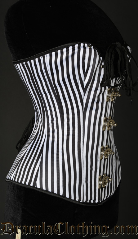Striped Cleavage Clasp Corset